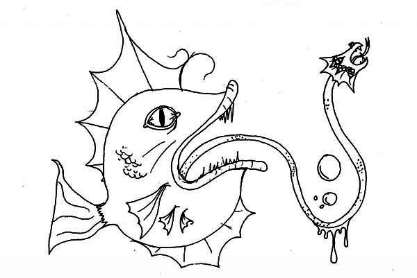 Sea Monster, : Hideous Sea Monster Coloring Page