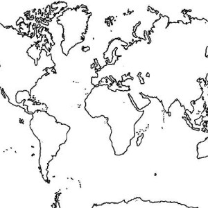 horizontal continents in world map coloring page - World Map Coloring Page