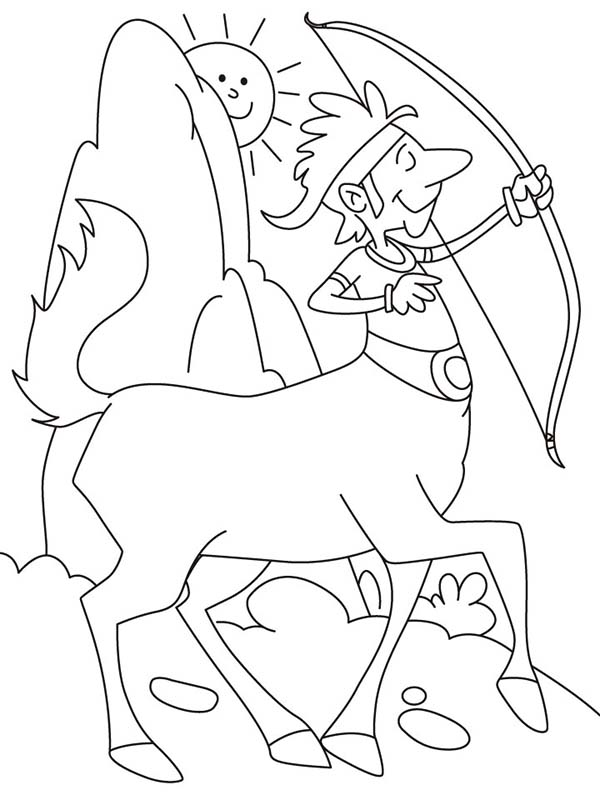Centaur, : How to Draw Centaur Holding Bow Coloring Page