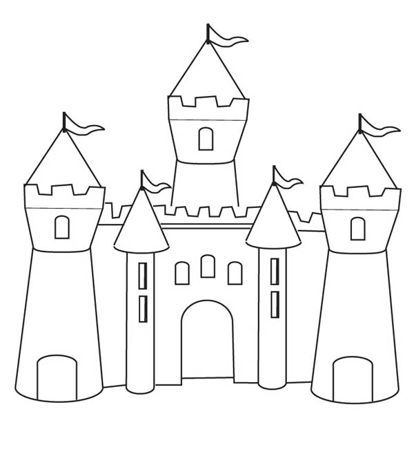 Medieval Castle How To Draw Castle Coloring Page
