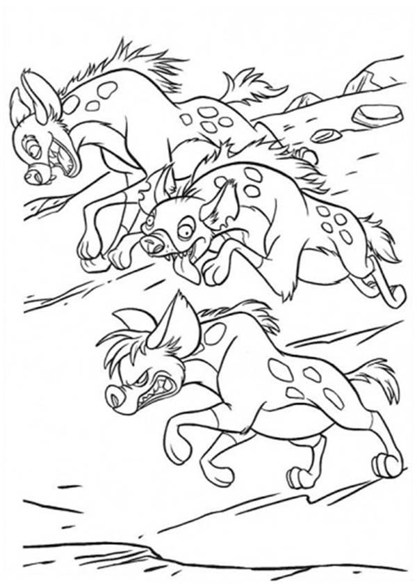 hyena running in the lion king movie coloring page