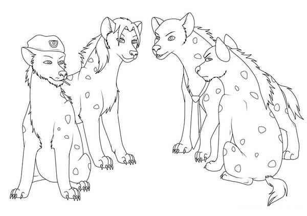Hyena, : Hyena Survivors Coloring Page