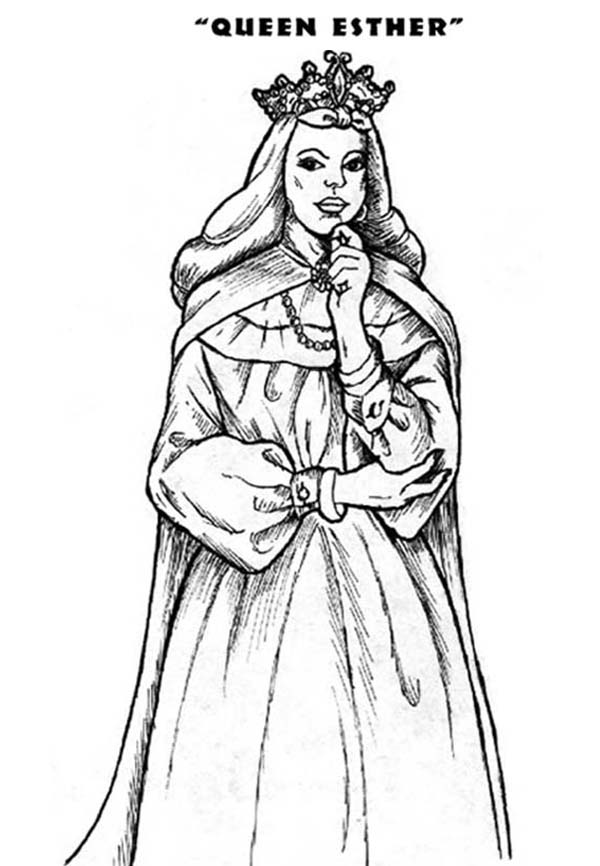 Jewish Queen Esther Of A Persian King Ahasuerus Coloring Page