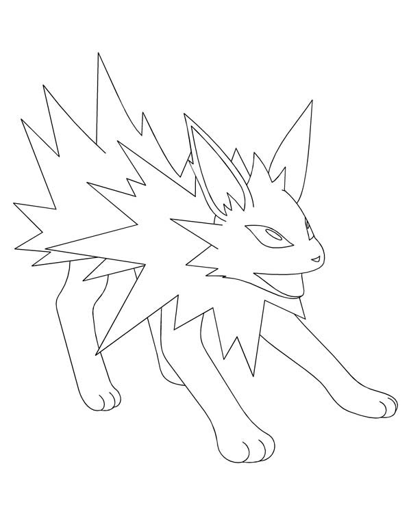 Jolteon, : Jolteon Outline Coloring Page