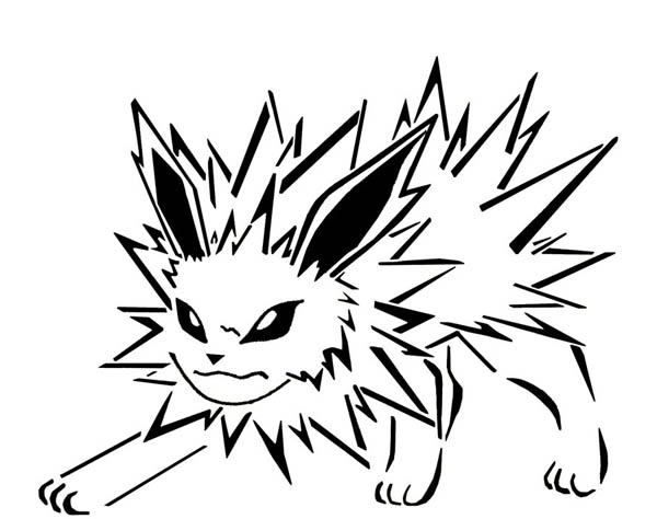Jolteon, : Jolteon Sharp Fur Coloring Page