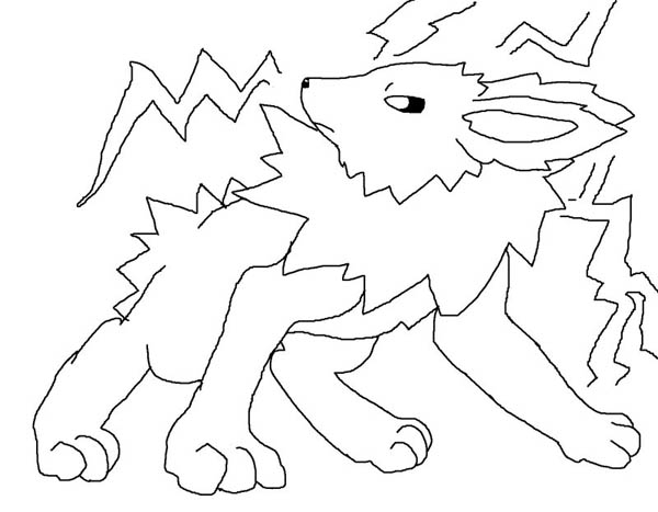 Jolteon, : Jolteon and Thunderbolt Coloring Page