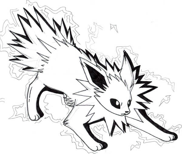 Jolteon, : Jolteon is Aware of Enemy Coloring Page