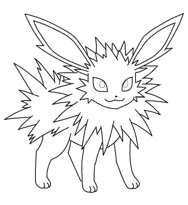Jolteon, : Jolteon is Smiling Coloring Page