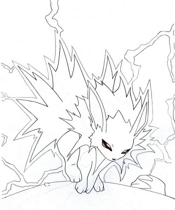 Jolteon, : Jolteon with Lighting Coloring Page