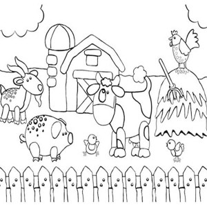 kid drawing of farm animal coloring page - Farm Animal Coloring Pages Sheets