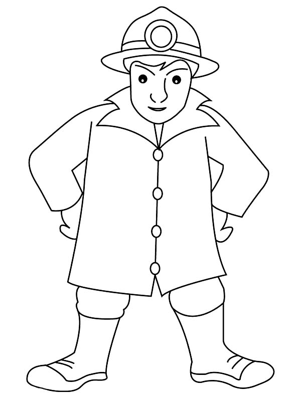 Fireman, : Kids Drawing of Fireman Coloring Page
