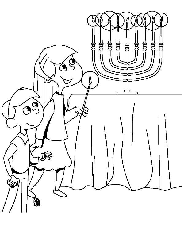 Menorah, : Kids Trying to Light Menorah Coloring Page