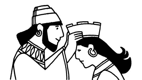Queen Esther, : King Ahasuerus put Crown to Queen Esther Head Coloring Page