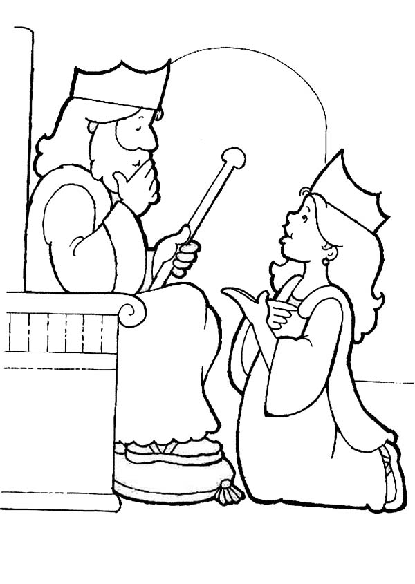 king choose esther to be his queen esther coloring page kids - Esther Bible Story Coloring Pages