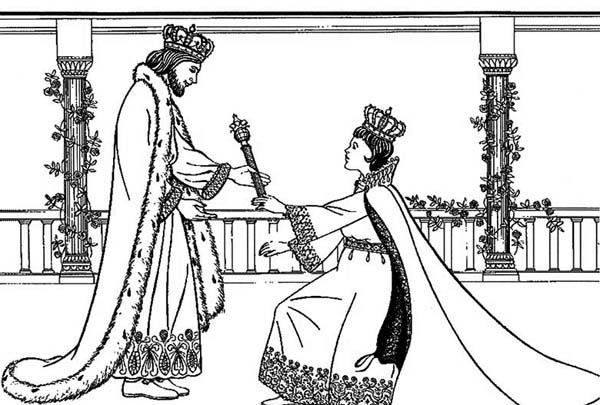 Queen Esther, : King Xerxes I Queen Esther Coloring Page