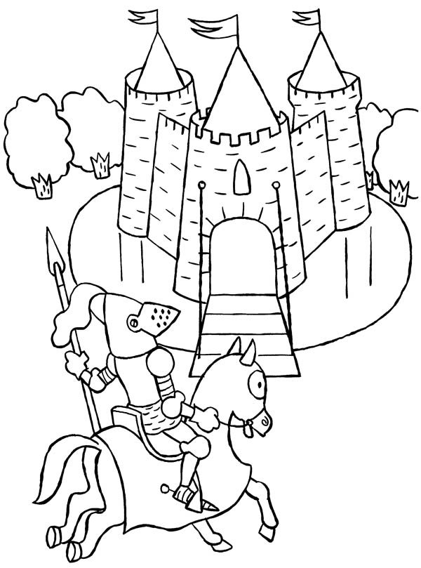 Medieval Castle, : Knight Patrol Around Medieval Castle Coloring Page