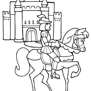 knight riding horse in front of medieval castle coloring page