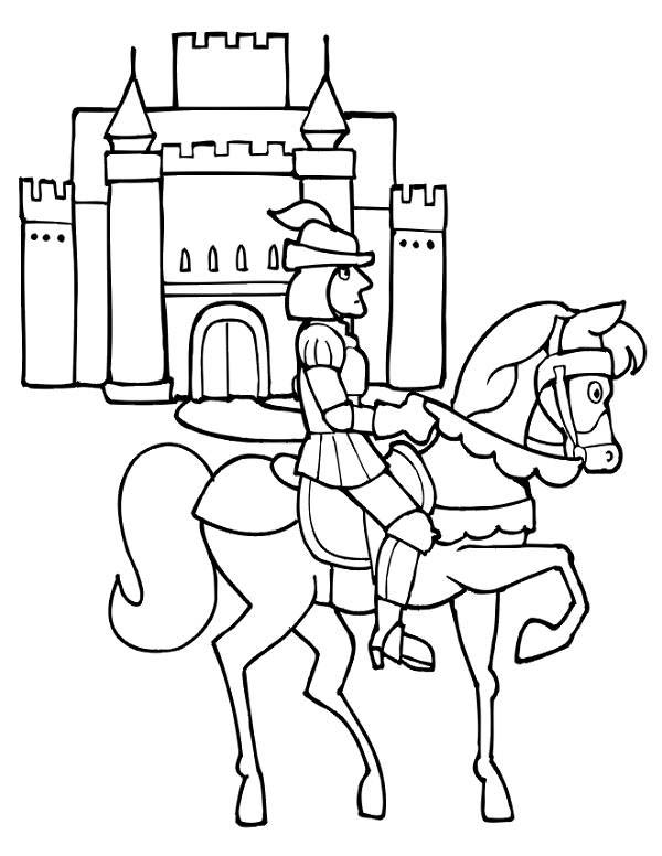 Medieval Castle, : Knight Riding Horse in Front of Medieval Castle Coloring Page