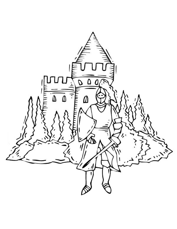 Medieval Castle, : Knight in Front of Medieval Castle Coloring Page