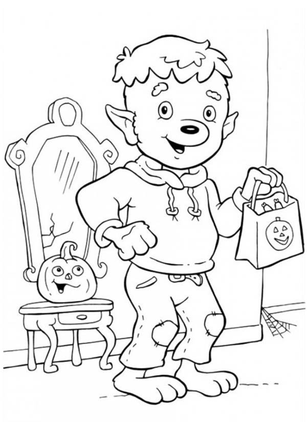 funschool halloween little werewolf ready for trick or threat in funschool halloween coloring page