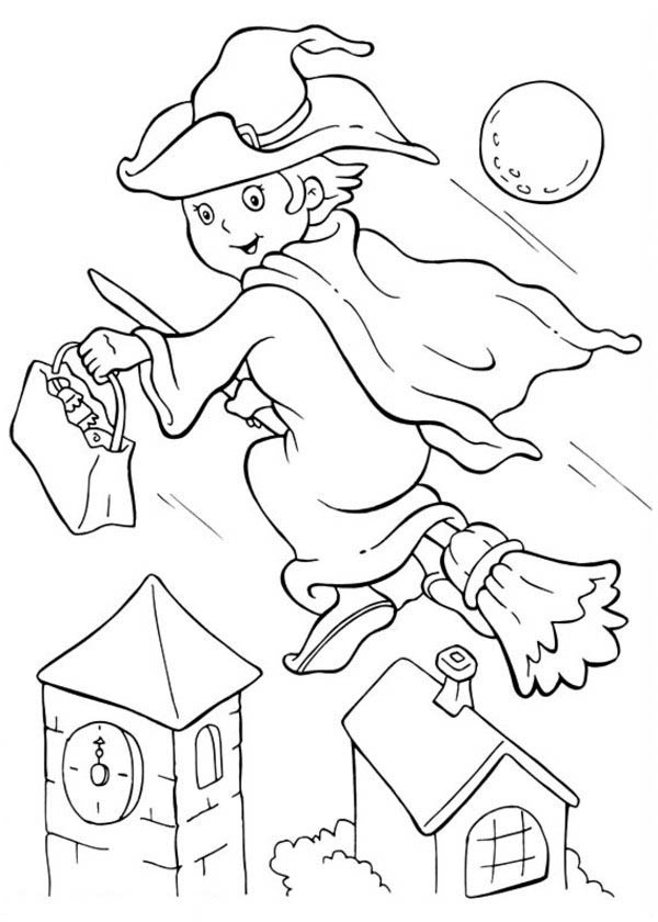 Funschool Halloween, : Little Witch Flee with Her Broomstick in Funschool Halloween Coloring Page