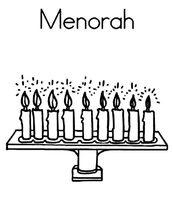 Menorah, : M is for Menorah Coloring Page