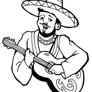 mariachi singing a song at mexican fiesta coloring page