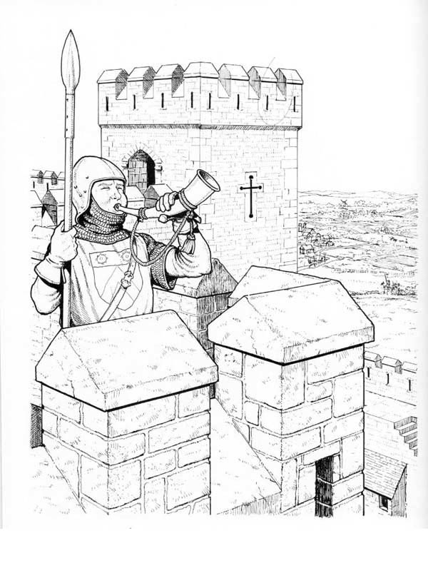 Medieval Castle, : Medieval Castle Watch Tower Coloring Page