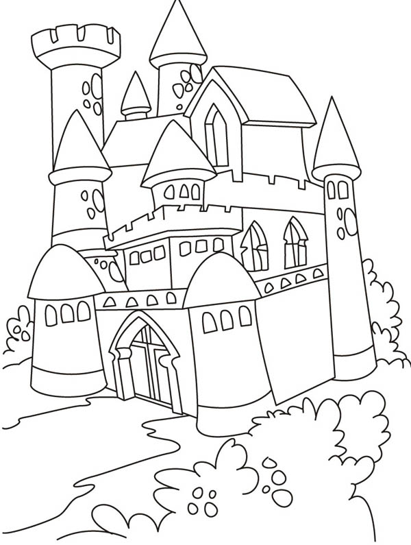 Medieval Castle, : Medieval Castle Where King and Queen Live Coloring Page