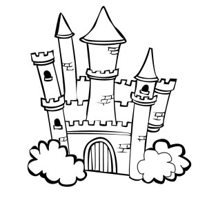 medieval castle with bush on the side coloring page