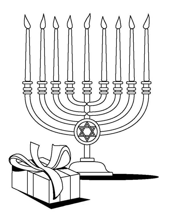 Menorah, : Menorah and Gift Coloring Page
