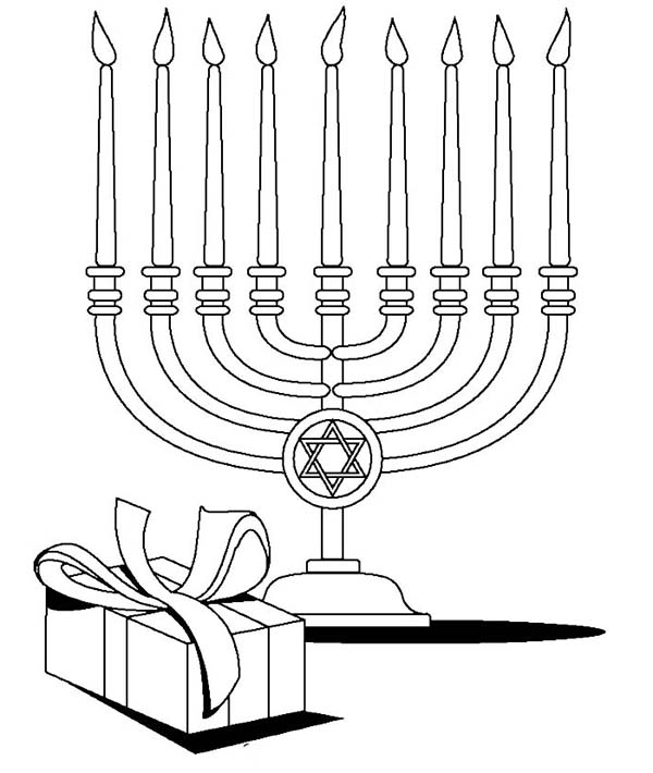Chanukah, : Menorah and Gifts at the Time of Chanukah Coloring Page