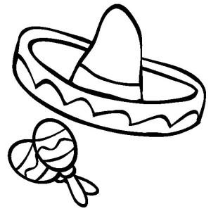 mexica sombrero and maracas in mexican fiesta coloring page