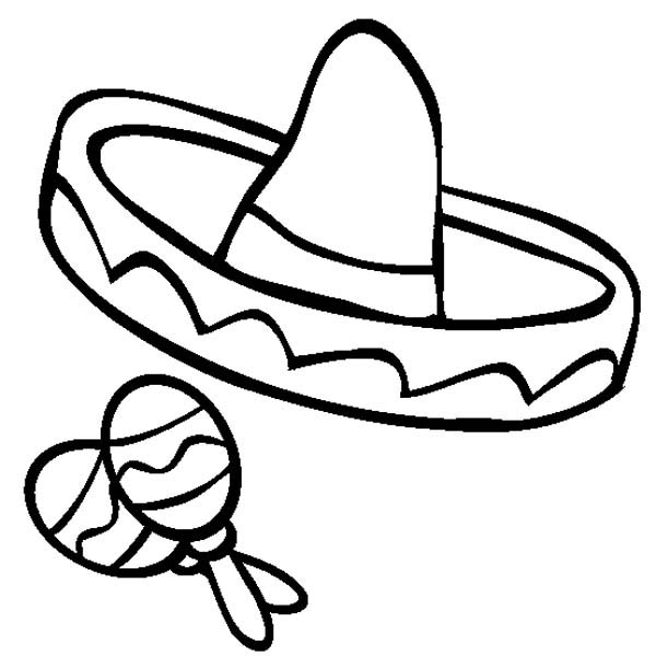 Mexican Fiesta, : Mexica Sombrero and Maracas in Mexican Fiesta Coloring Page