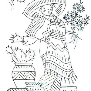 mexican boy in traditional outfit at mexican fiesta coloring page