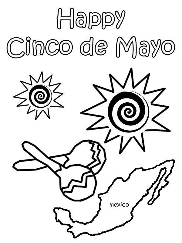 Mexican Fiesta, : Mexican Cinco de Mayo at Mexican Fiesta Coloring Page