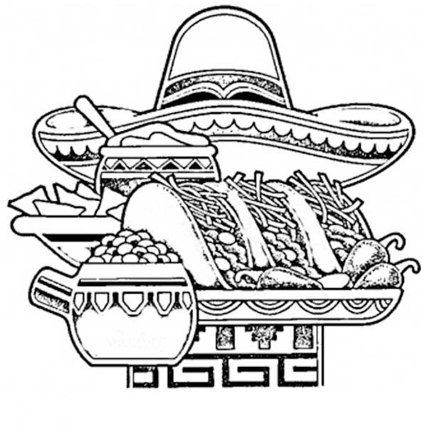 Mexican Fiesta, : Mexican National Food in Mexican Fiesta Coloring Page