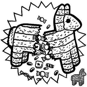 mexican pinata full of candy coloring page