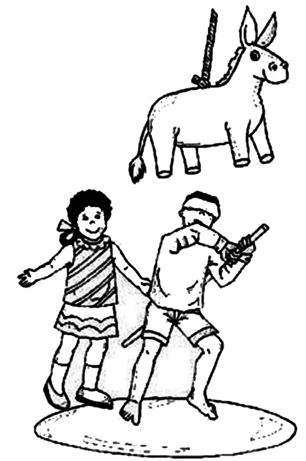 Pinata, : Mexican Tradition Pinata Coloring Page