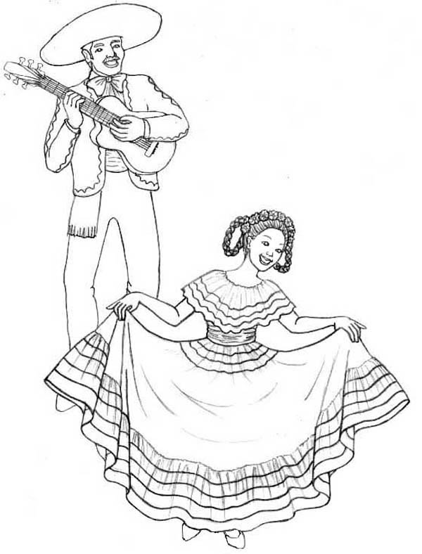 Mexican Fiesta, : Mexican Traditional Dance at at Mexican Fiesta Coloring Page