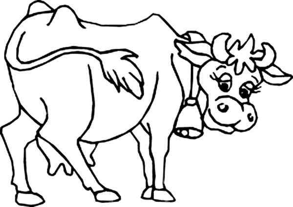 Cow, : Milch Cow Walking Around Coloring Page