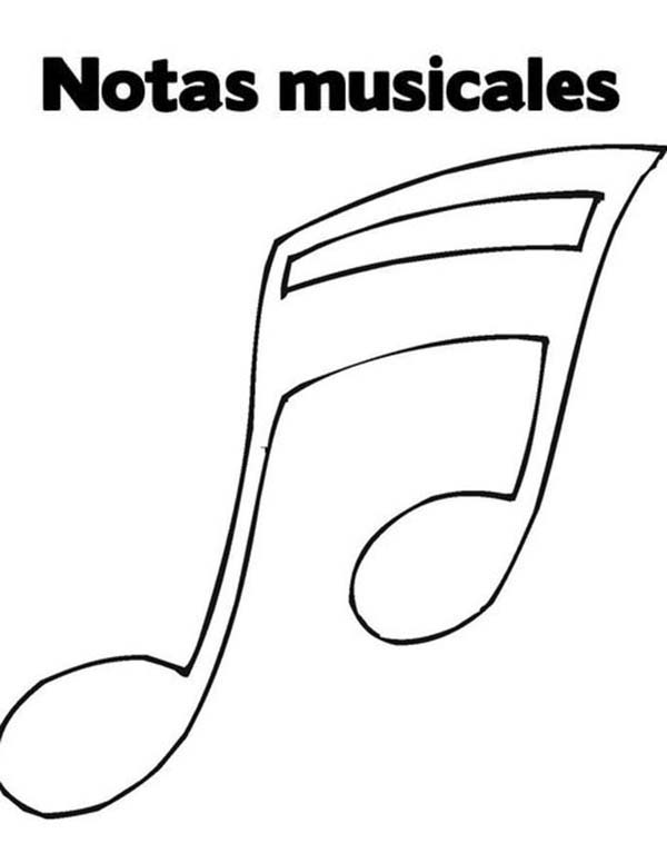 Music Notes, : Music Notes in Spanish Coloring Page