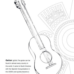 one mexican vihuela in mexican fiesta coloring page
