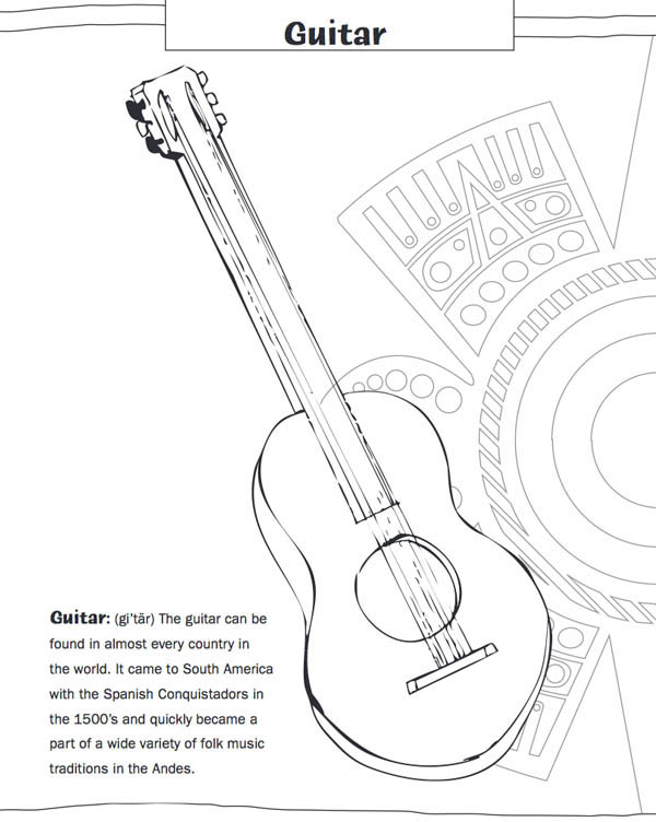 Mexican Fiesta, : One Mexican Vihuela in Mexican Fiesta Coloring Page
