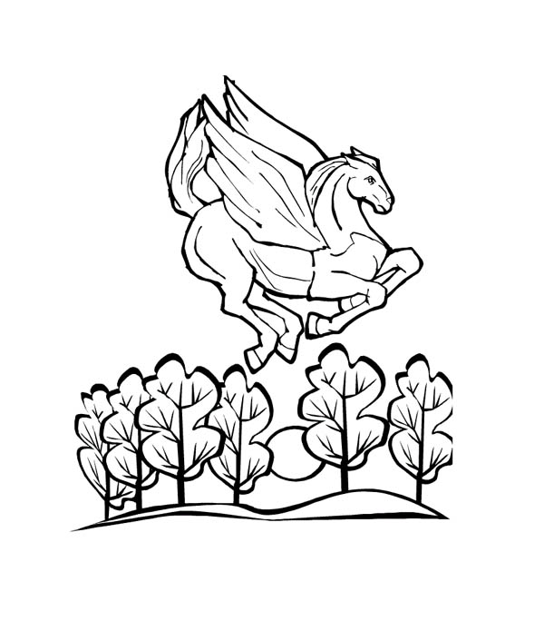 Pegasus, : Pegasus Flying Over the Forest Coloring Page