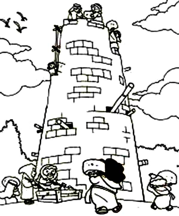 Tower of Babel, : People Build The Tower of Babel Coloring Page