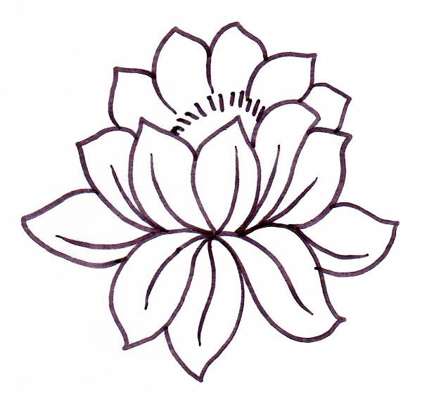 Lotus Flower, : Picture of Lotus Flower Coloring Page