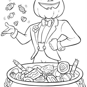 pumpkin man throwing some candy in funschool halloween coloring page