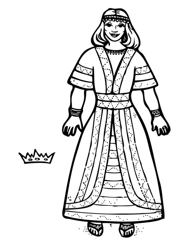 Queen Esther, : Queen Esther Crown Coloring Page