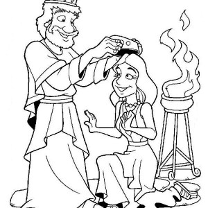 queen esther crowned ny king ahasuerus coloring page